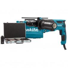 Makita HR2630TX12 SDS+ boor- en beitelhamer 26mm 800W + boor- en beitelset + automatische boorkop +k