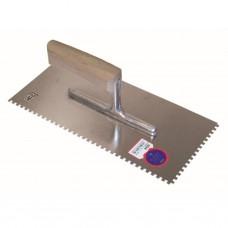 Getande spaan 280 x 130 / 4 x 4 mm / ZG16 met gebogen houten handgreep - inox