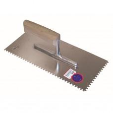 Getande spaan 280 x 130 / 6 x 6 mm / ZG18 met gebogen houten handgreep - inox