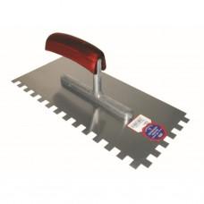 Getande spaan 280 x 130 / 10 x 10 mm / ZG22 met houten handgreep - staal
