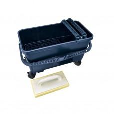 Eco tegel-was-set met kunststof rooster en 4 wielen (2 met blokkeersysteem) – 24L